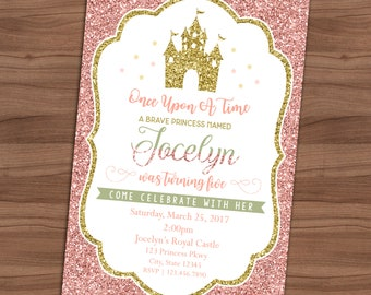 princess birthday invitation pink and gold faux glitter royal celebration party invite shipping included printed or printable 4x6