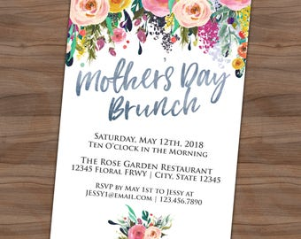 mothers day tea party invitation floral breakfast lunch brunch invite printed or printable shipping included 4x6