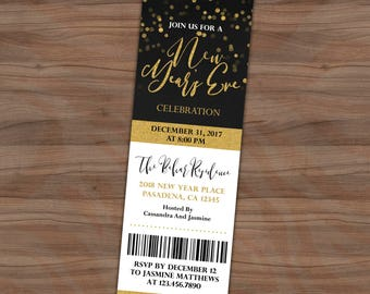 new years eve ticket invitation black white gold new year invite gold confetti faux gold foil printable or printed 2x6