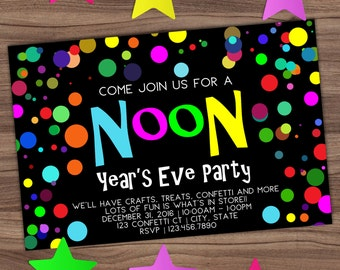 noon years eve party invitation new years kids invite confetti balloon bright glow in the dark 80s printable or printed 4x6