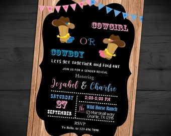western gender reveal invitation cowpoke invitation cowboy or cowgirl boots invite printed or printable shipping included 5x7