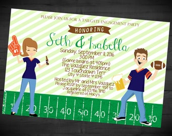 tailgate engagement party invitation football themed couples shower sports bridal shower printed or printable shipping included 4x6