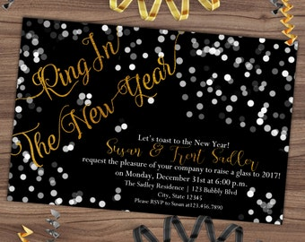 new years eve invitation new years party invite black gold foil confetti ring in the new year adult printable or printed 4x6