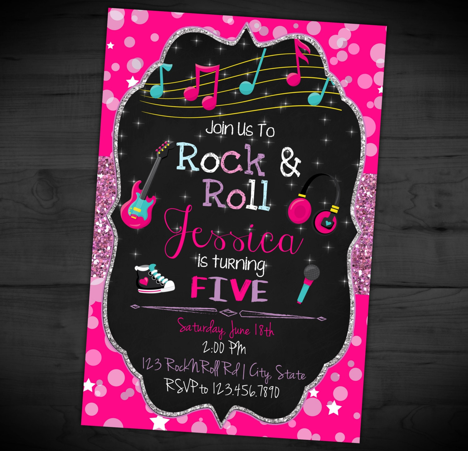 Rock N Roll Birthday Invitation Star Party Invite