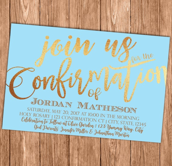 Blue Confirmation Invitation First Holy Communion Baptism Etsy