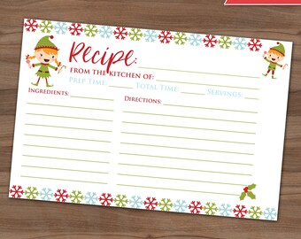 Christmas Recipe Card - Cookie Exchange Holiday Party - Xmas Baking - Baked Goods Swap - Recipe Share - Snowflakes - Elf - Instant - 4x6
