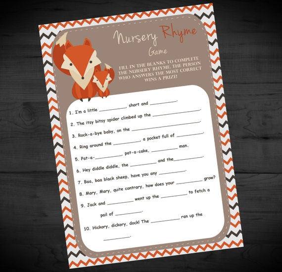 Little Fox Baby Shower Nursery Rhyme Game With Matching Answer Etsy