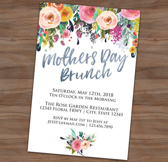 Mother S Day Tea Party Invitation Floral Breakfast Etsy