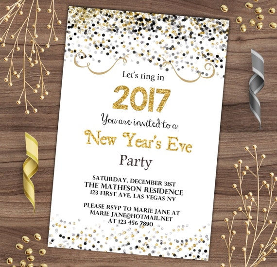 new year s eve invitation black and gold confetti nye etsy