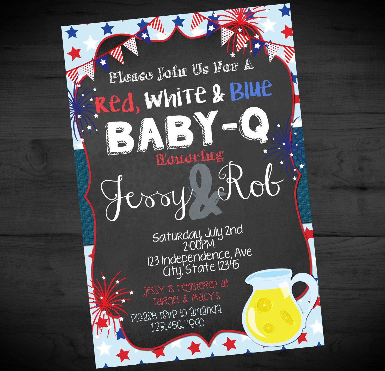 4th of july baby q invitation fourth of july baby shower etsy