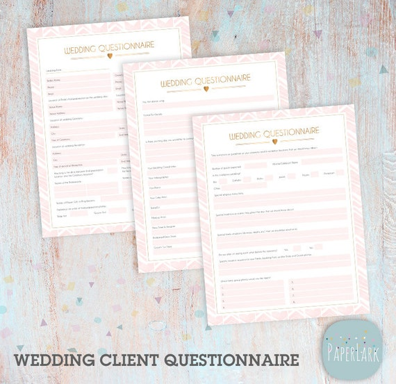 Wedding Photography Questionnaire Photoshop Template - NG021 - INSTANT DOWNLOAD