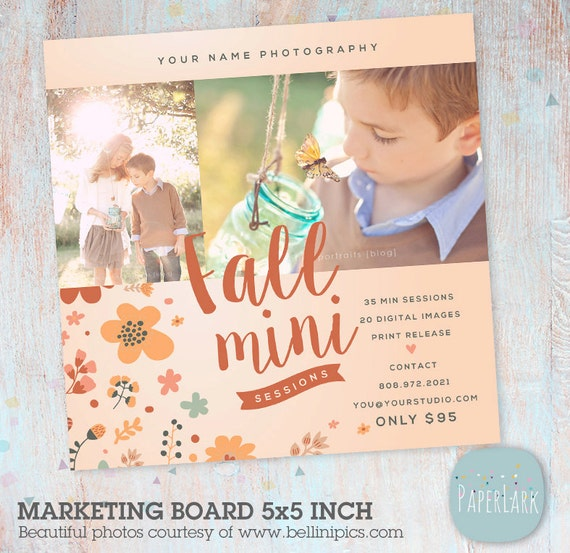 Fall Mini Session Template - Photography Marketing Board - Fall/Autumn Mini Sessions - Photoshop template - IW011 - INSTANT DOWNLOAD