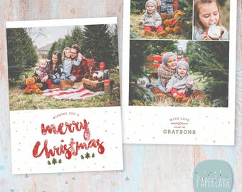 Christmas Card Holiday Template - Photoshop template - AC096 - INSTANT DOWNLOAD