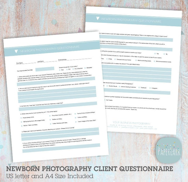 Newborn Questionnaire Client Questionniare Photoshop Template - Ng031 - Instant Download