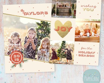 Holiday Christmas Card Template - Photoshop template - AC037 - INSTANT DOWNLOAD