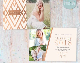 Rose Gold Senior Announcement Card - Photoshop Template - AG014 - Instant Download