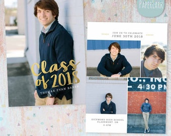 Senior Guys Graduation Announcement Card - Photoshop Template - AG018 - INSTANT DOWNLOAD