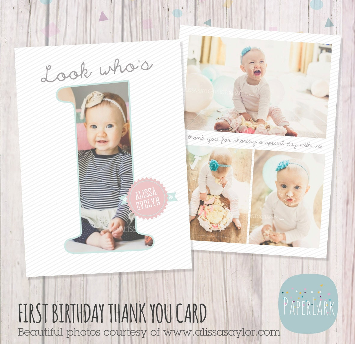 First Birthday Card Photoshop Template Af001 Instant Etsy