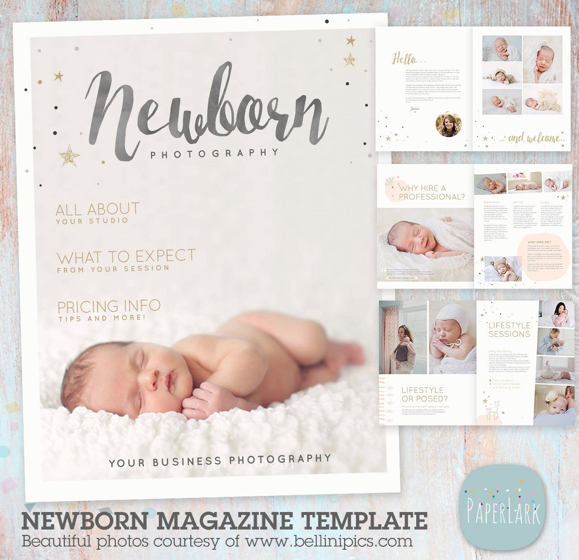 Newborn Photography Magazine Template 22 Pages PG016   Etsy
