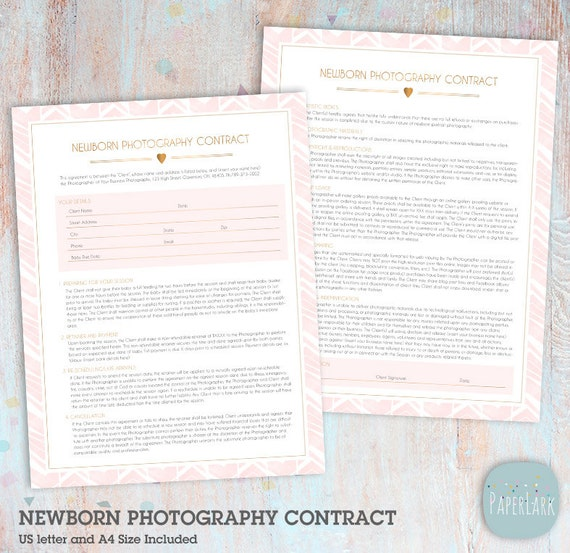 Newborn photography contract template for photographers 2 | etsy.