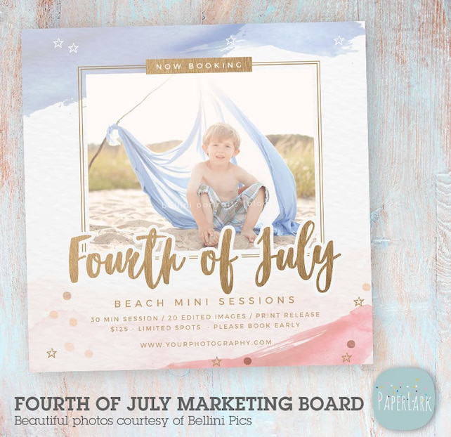 4th July Photography Mini Session Template - Photoshop - IT005 - Instant Download