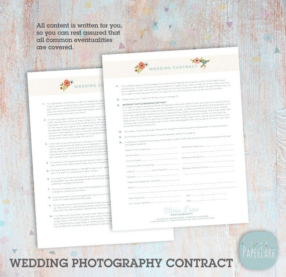 Wedding Photography Contract Template Photoshop Download Etsy