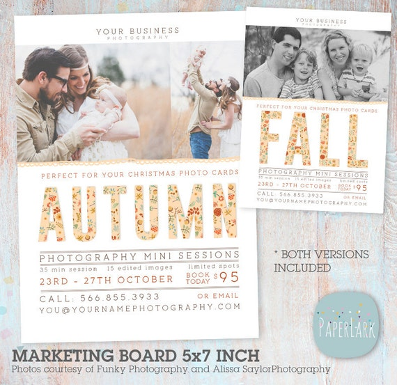 Fall Mini Session Template - Photography Marketing Board - Fall/Autumn Mini Sessions - Photoshop template - IW017 - INSTANT DOWNLOAD