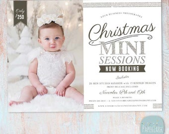 Christmas Holiday Mini Session Template - Photography Marketing - Photoshop template - IC053 - INSTANT DOWNLOAD