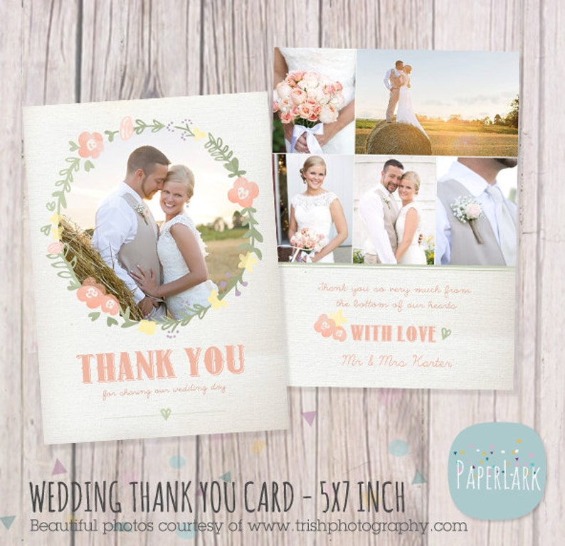 Photoshop template Wedding Thank You Card AW014 INSTANT DOWNLOAD