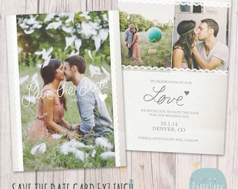 Save the Date Card Template - AW017 - INSTANT DOWNLOAD