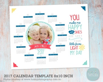 2017 Calendar and 2018 Calendar  - Photoshop template - GG016 - INSTANT DOWNLOAD