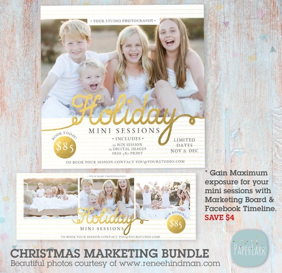 Christmas Mini Sessions, Holiday Marketing Board and Facebook Timeline Bundle, Christmas Mini Session, Marketing - IC034 - INSTANT DOWNLOAD