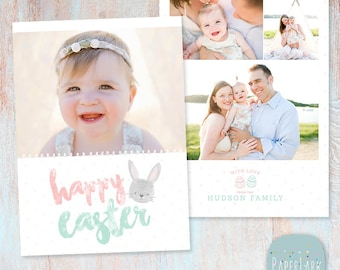 Easter Card Template - Easter Bunny Card - Kids Photo Card - Photoshop template - AE008 - INSTANT DOWNLOAD