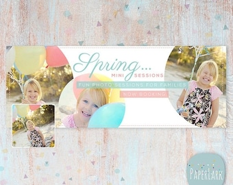 ON SALE Spring Facebook Timeline - photoshop template -  HE003 - Instant Download