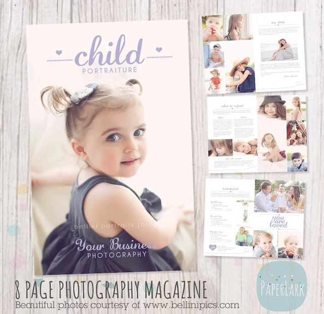 Child Photography Magazine - 8 Page Template- Photoshop Template - PG011 - INSTANT DOWNLOAD