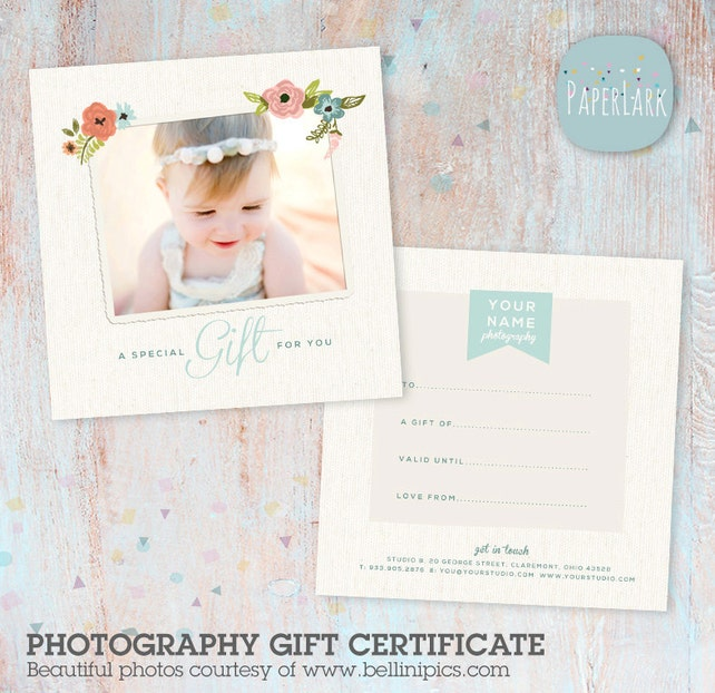 Photography Gift Certificate Template Photoshop File Vc004