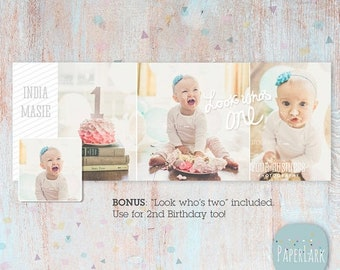 ON SALE Cake Smash Facebook Timeline  - First Birthday -  Photoshop Template -  HD001 - Instant Download