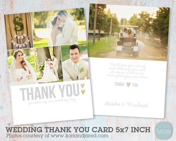 Wedding Thank You Card Photoshop Template Aw002 Instant Etsy