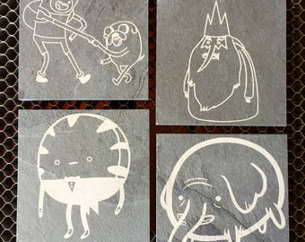 Adventure Time Inspired Engraved Slate Coasters
