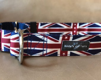 "1"" British Flag Martingale Collar"
