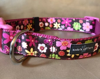 "1"" Flowers on Brown Quick Release Collar"