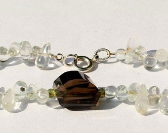 Gemstone bracelet with silver clasp, aquamarine, Peridot and smoke quartz 19cm