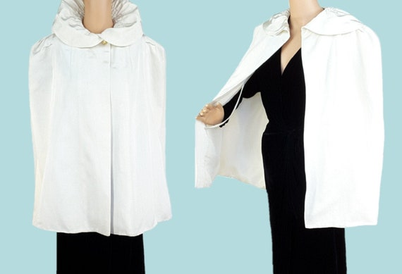 Vintage 1930s Cape M/L ~ Late 30's White Ivory Ope