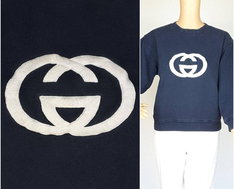 18d8cd214 S/M Vintage 1970s GUCCI Sweatshirt Authentic Navy Blue Top w | Etsy