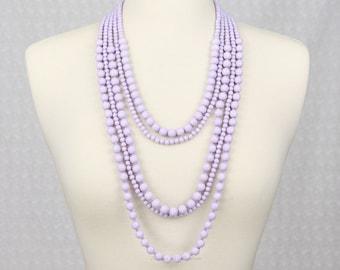 Multi Strand Statement Necklace Multi Layered Beaded Necklace Long Necklace Chunky Necklace Lavender Purple