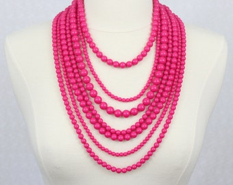 Multi Strand Beaded Necklace Statement Necklace Multi Layered Beads Long Necklace Seven Strand Beads Necklace Fuchsia Hot Pink