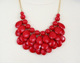 Tear Drop Necklace Red Statement Necklace Multi Layered Bib Necklace