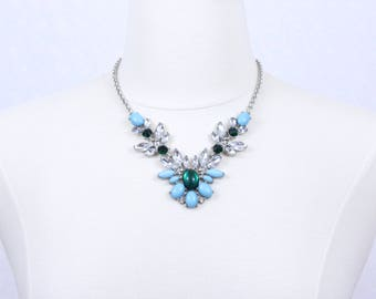 Blue Green Necklace Floral Statement Necklace Flower Necklace Rhinestone Chunky Necklace Cabochon Necklace Crystal Necklace