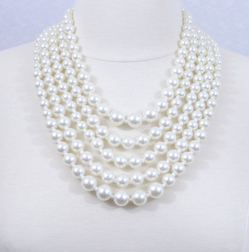 84f9239397a Multi Strand Pearl Necklace Ivory White Chunky Pearl Bib