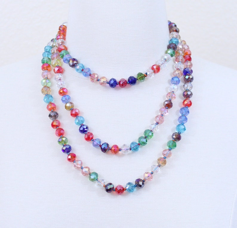 bb1d28c72e421 Multi Color Long Crystal Necklace Statement Necklace Multi Layered Beads  Long Necklace Seven Strand Beads Necklace